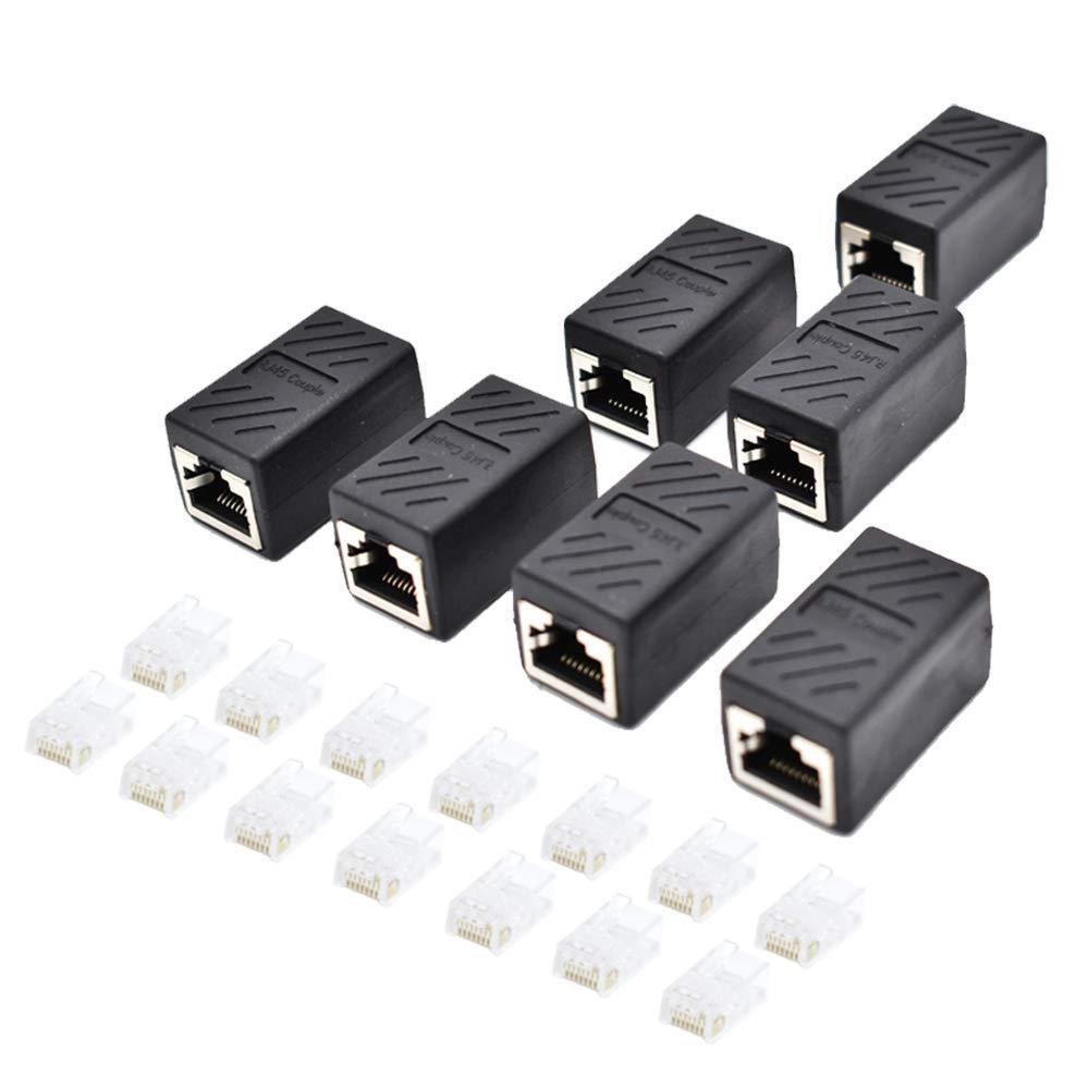 RJ45 Coupler 7 Pieces Ethernet Cable Extender with 14pcs RJ45 Plugs Connector for Cat6 Cat5e Cat5 Coupler (Black-7Pack)