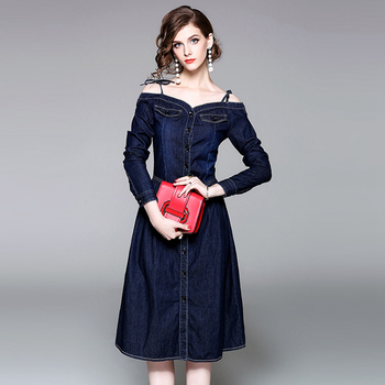 05bd74a6d818 Shoulder-straps denim fashion girls short frocks dress with button through