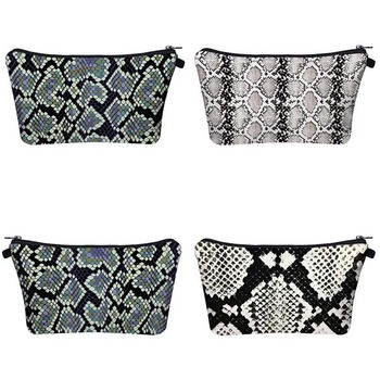2019 new waterproof makeup bag fashion woman digital print handbag beautiful snakeskin pattern toiletries bag can be customized