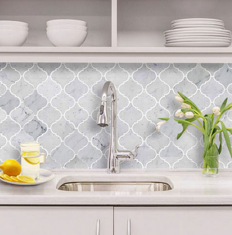 White Lantern Arabesque Kitchen Ceramic Tile Bathroom Porcelain Lantern Mosaic Tile Backsplash