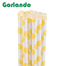 Charming Lemon Fruit Style Decorative Party Paper Drinking Straws for Celebration Parties