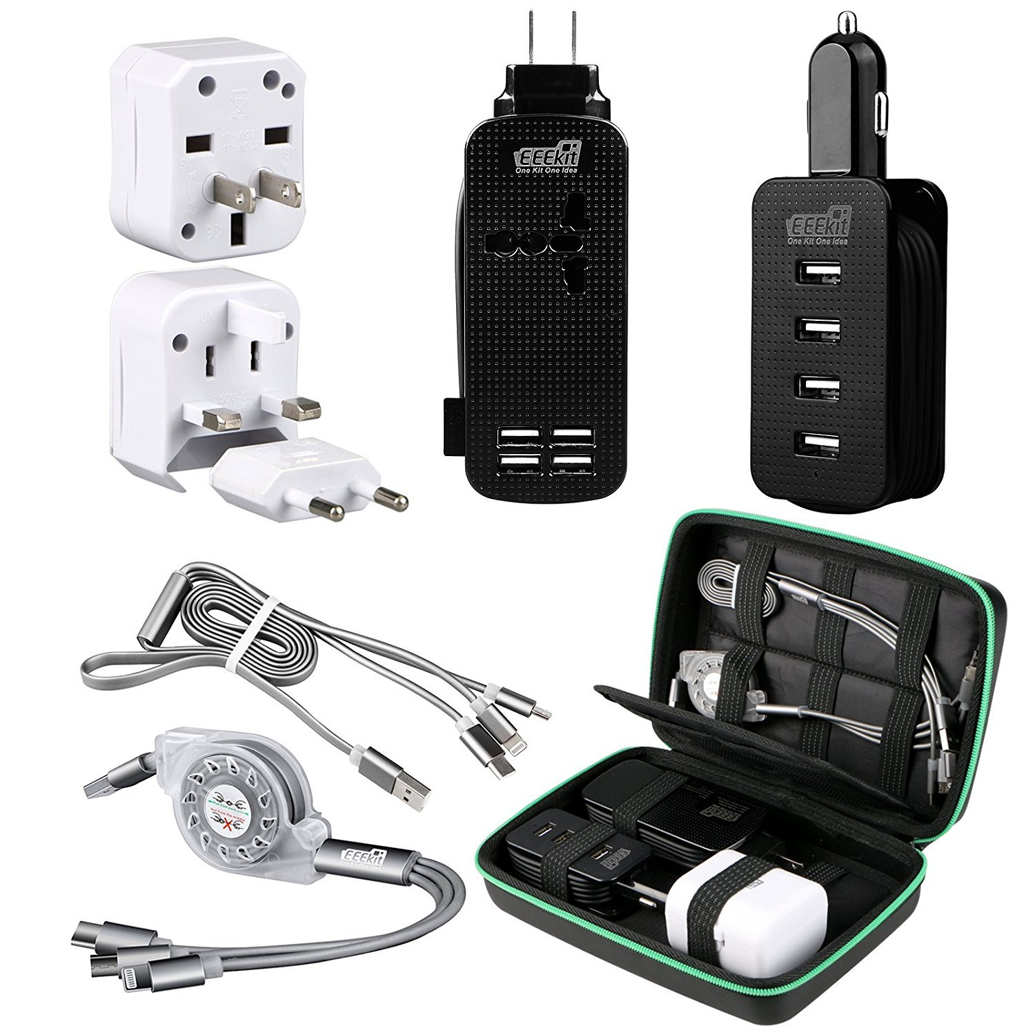 EEEKit All in One Travel Charger Kit for Smart Phones, Accessories Organizer Bag, 4-Port USB Charger+Outlet Power Strip, Car Charger, International AC Wall Outlet Adapter, Retractable USB Multi-Cable