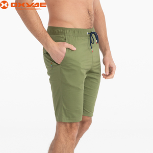 experienced factory made Summer solid shorts male spandex cotton short beach pants mens drawstring board shorts