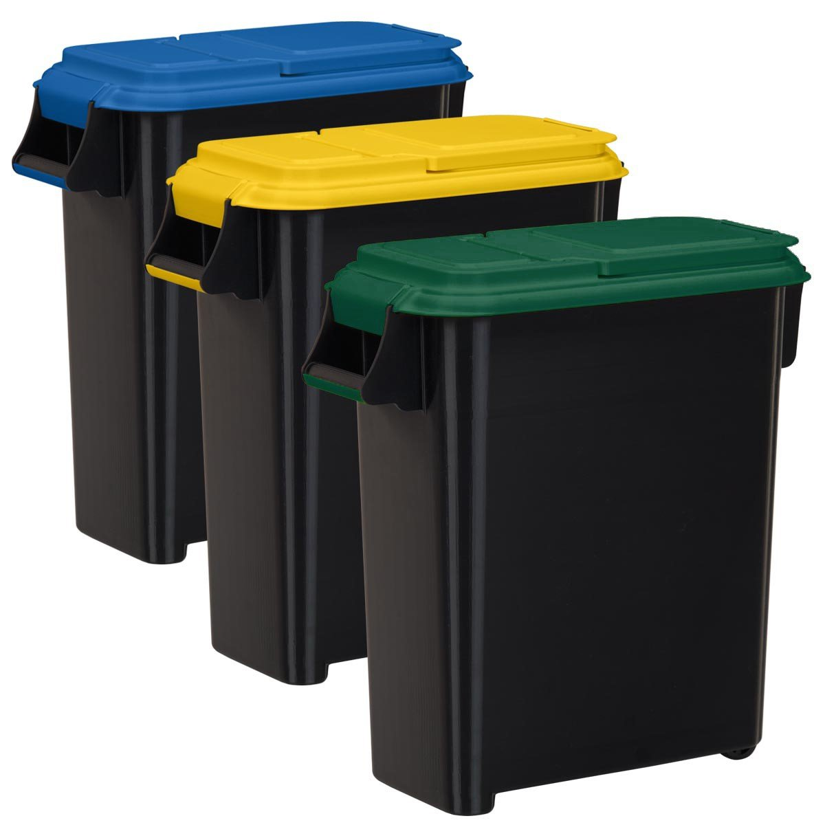 Buddeez Recycling Containers with Color Coded Lids, 20-Gallon/80-Quart, 3-Pack