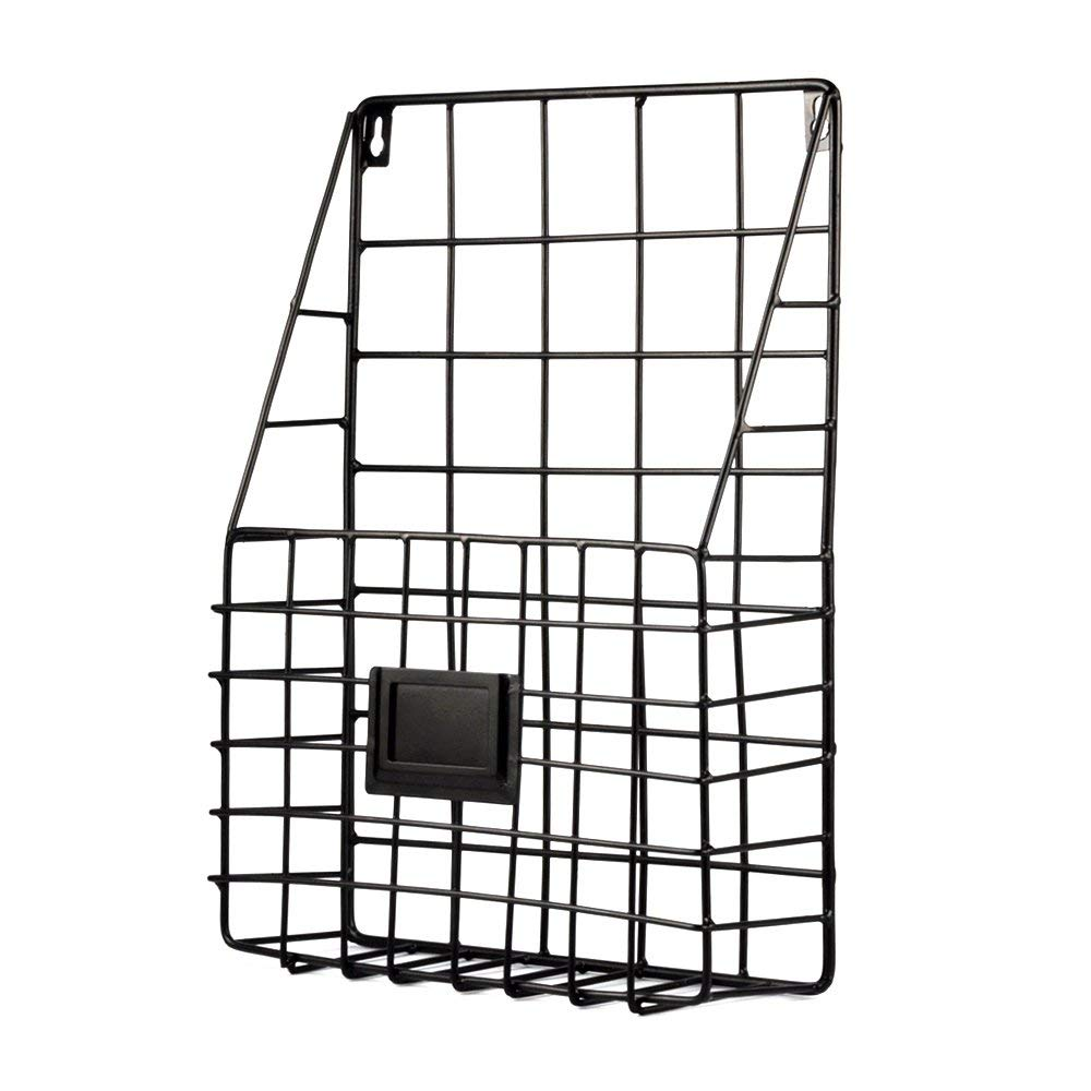 Wall File Holder Multi Purpose Wall Mount Hanging Folder Mail Organizer with Rail Metal Wire Baskets Hooks Rustic Industrial Style Black