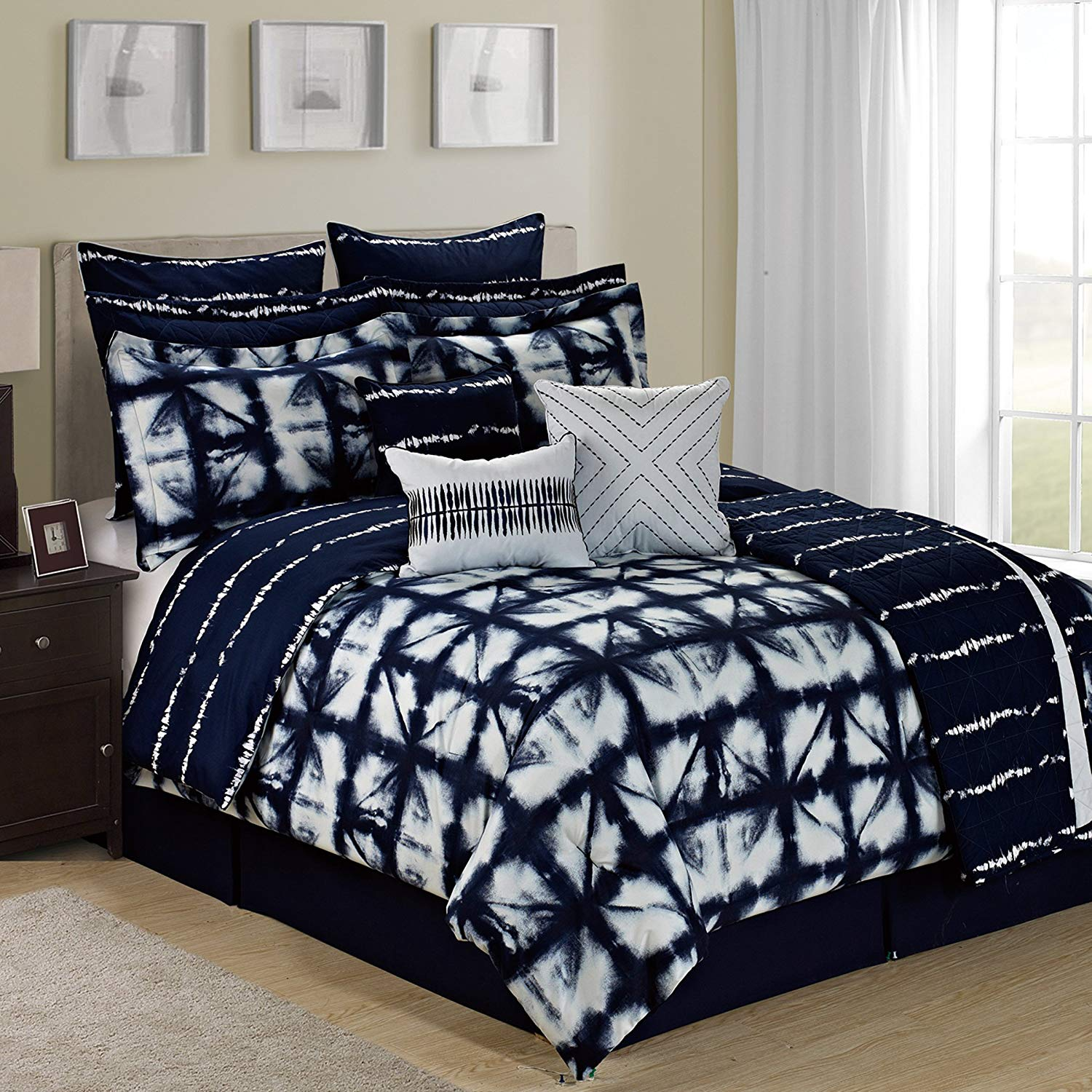 Tie Dye Plaid 12 Piece Comforter Set - Navy/White/Multi-color