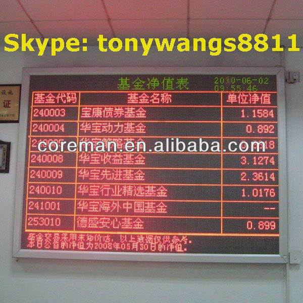 indoor led message moving scrolling sign display/ ph10 p4 led scrolling text sign single color