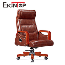 Workwell comfortable orange leather antique wood visitor ergonomic knee office chair