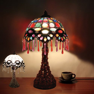 Handcrafted Moroccan Table Lantern Lamp Vintage Retro Floral Bronze Tiffany Style Table Light Stained Glass Lamp Shade NS-124059