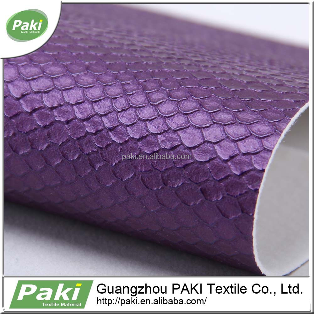 china supplier 1mm snake pattern pu coated sofa leather material for bag
