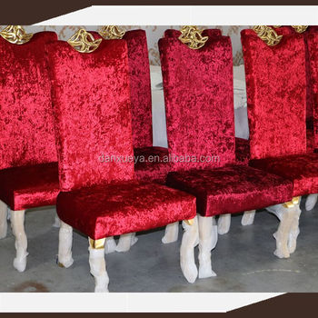 Red Velvet Wooden Dining Chair , Gold Leaf Hotel Chair