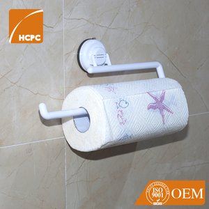 European Funny Plastic Bathroom Kitchen Wall Mounted Adhesive Suction Cup Paper Towel Holder Toilet Paper Holder