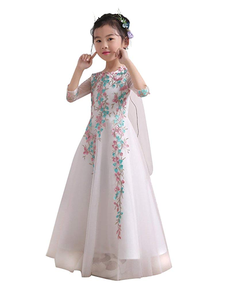 43721ef49 Get Quotations · Castle Fairy Flower Girl Dress Big Girl Flower Embroidery  Wedding Tulle Party Dress