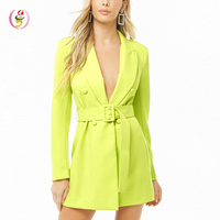 2019 Summer Selling Long Sleeve Mock Notched Lapels Neon Green Women Slim Belted Double-Breasted Mini Dress Sexy Ladies
