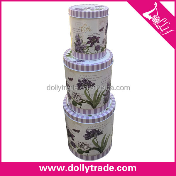 Round 3pcs a set Small Cookie Tin Boxes For Wedding