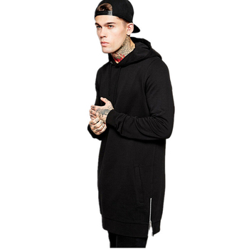 Wholesale street wear hip hop design side zipper mens hoodie oem longline oversized hoodie