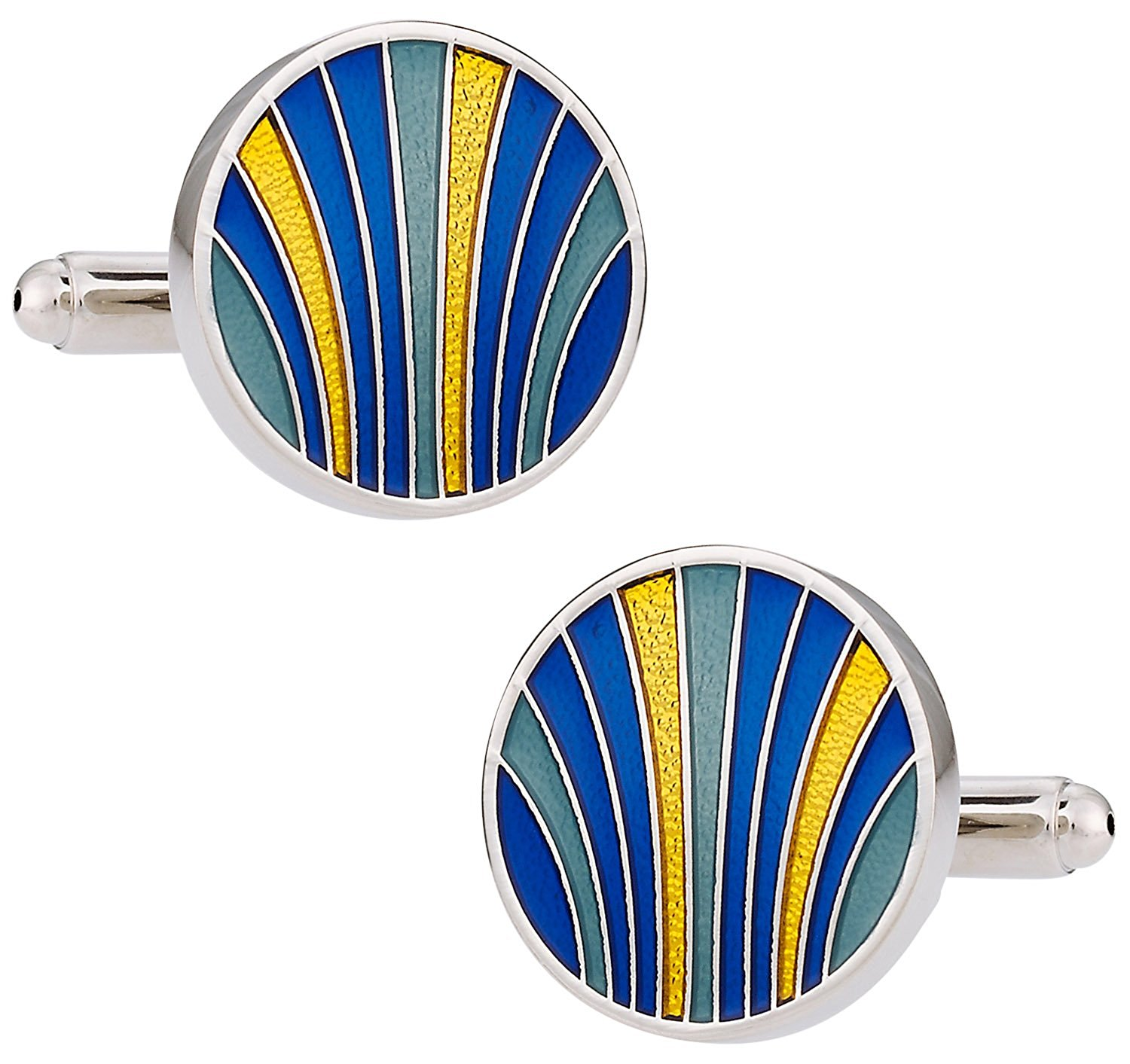 Cuff-Daddy Unique Blue, Yellow, Teal Enamel Round Silver Cufflinks with Presentation Box