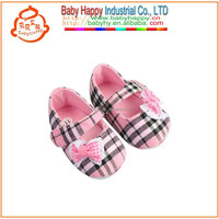 unique design Gingham Check Girls Baby Shoes