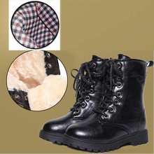Winter Fashion Girls snow boots warm plush soft bottom baby girls martin boots kids PU leather