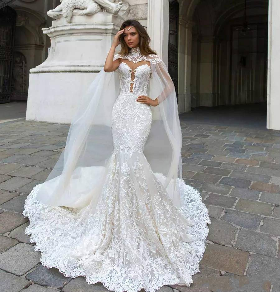 ZH3133G Cantik Mermaid Lace Wedding Dresses Dengan Cape Sheer Terjun Leher Bohemian Bridal Gown Appliqued Pernikahan & De Nnovia