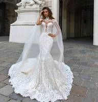 ZH3133G Gorgeous Mermaid Lace Wedding Dresses With Cape Sheer Plunging Neck Bohemian Bridal Gown Appliqued Vestidos De Nnovia