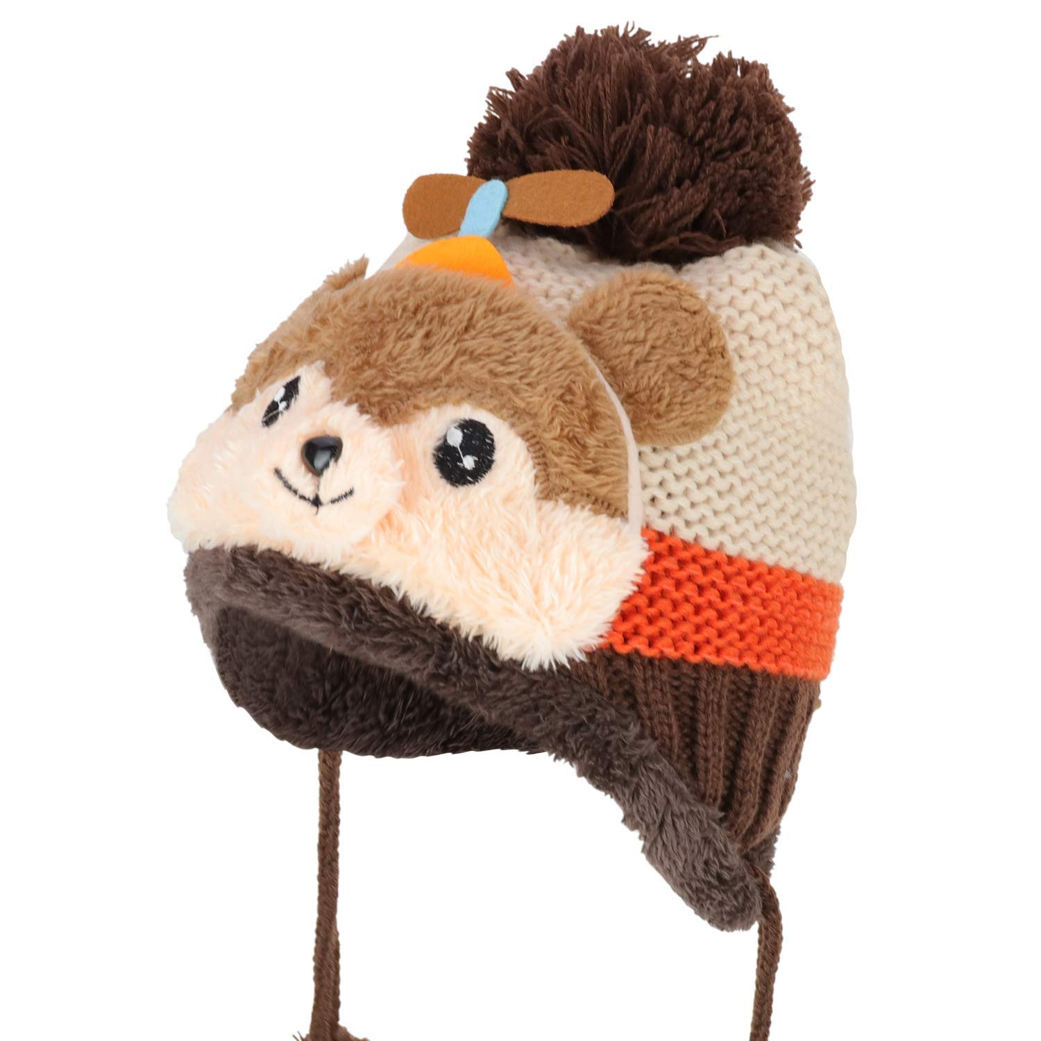 421d8756109 Get Quotations · Trendy Apparel Shop Kid s Youth Size Bear Pom Knit Beanie  with Tassel