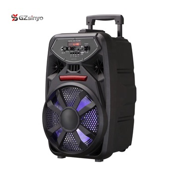 8 inch rechargeable portable amplifier speaker with microphone and disco light