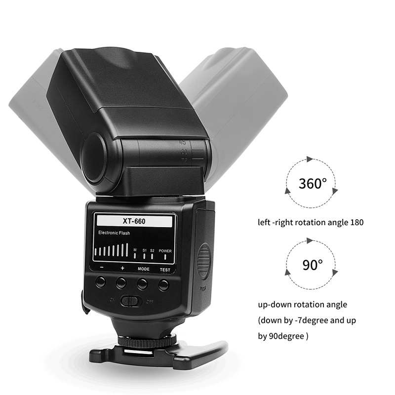 High Quality SHOOT Professional Brightness Adjustable Camera Flash Speedlite XT-660 for Canon/Nikon/Olympus etc DSLR Camera