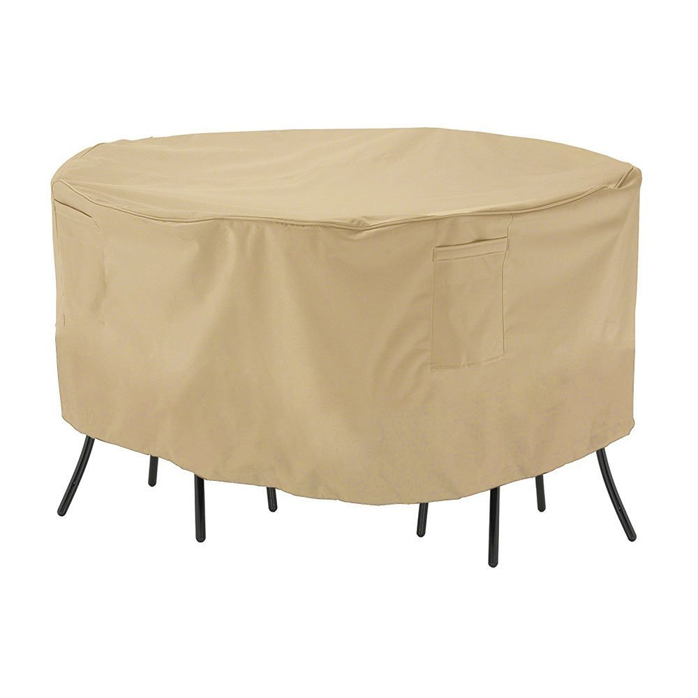 """SUSUO Beige Round Table and Chair Set Cover for Outdoor Furniture with Air Vents - All Weather Protective,Waterproof (23""""H x70"""" DIA)"""