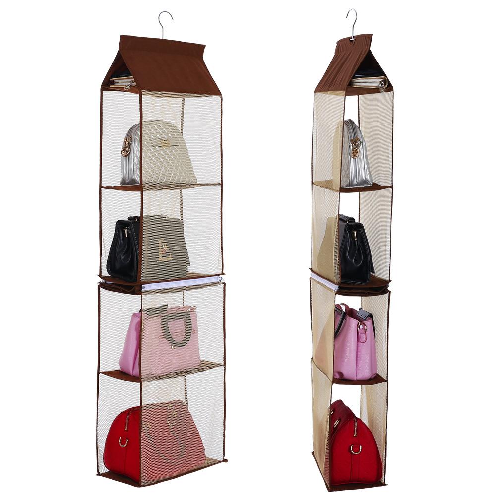 6 Pocket Hanging Purse Organizer Closet Handbag Organiser In Stock For