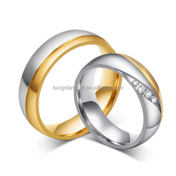 88b396dacf wholesale stainless steel wedding band 18k gold plated promise rings for  couples matching rings for valentines