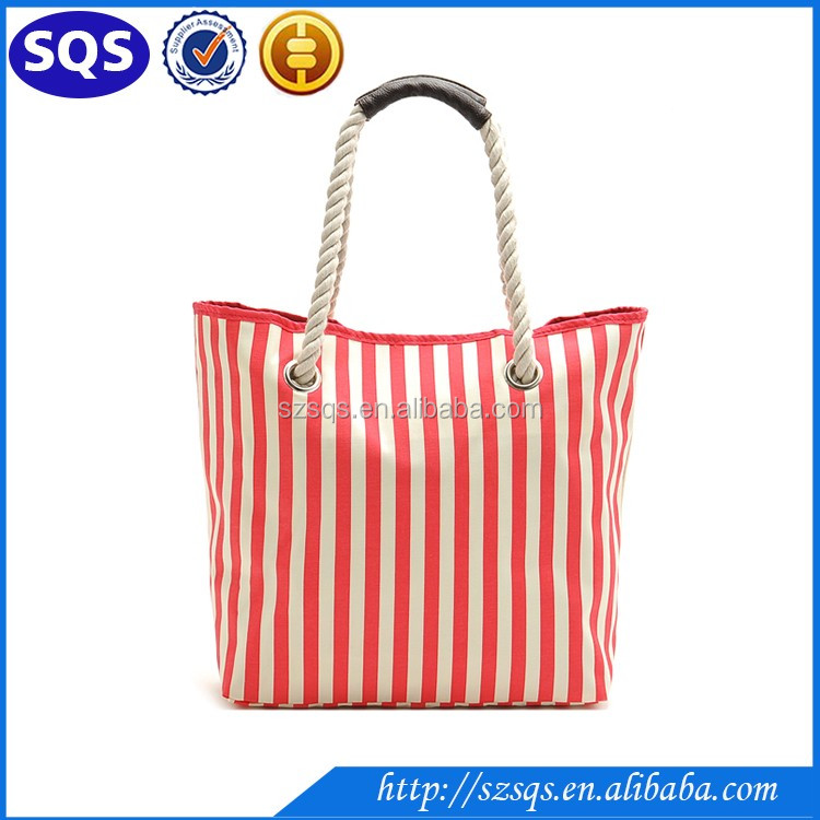 Hot sell fashoin colorful Stripe printed Summer promotional cotton tote beach bag