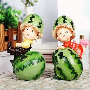 Lovely Watermelon Couple Resin Doll Furnishings Craft Home Decoration