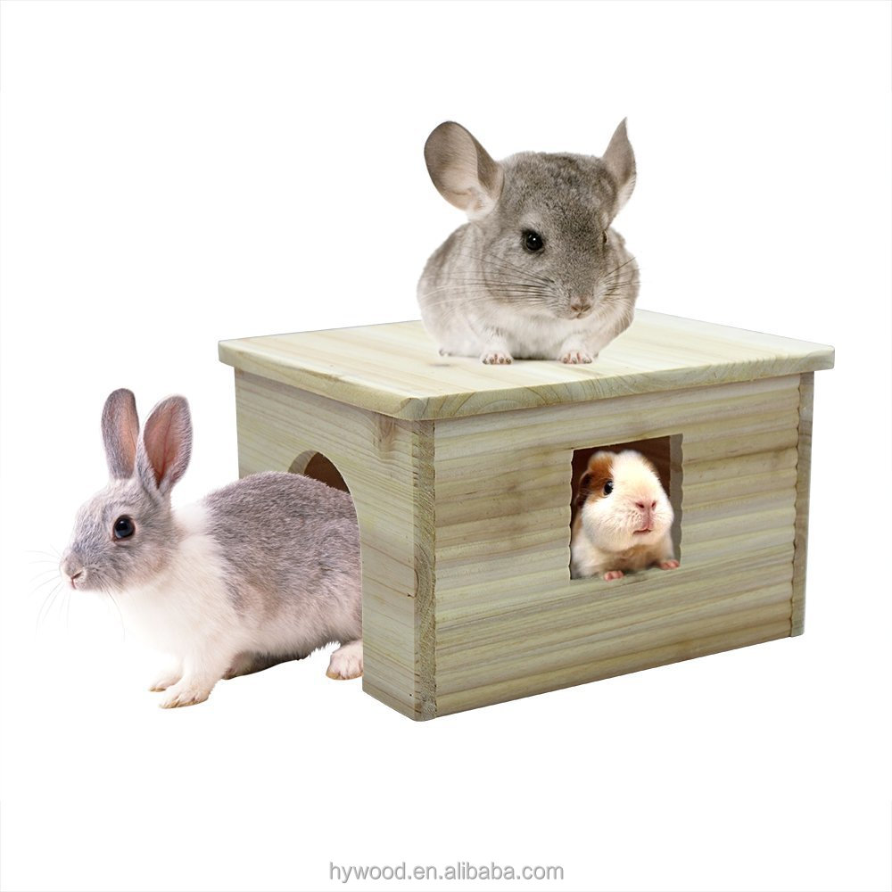 Multipurpose wood pet house with window for rabbit chinchilla squirrel guinea pigs