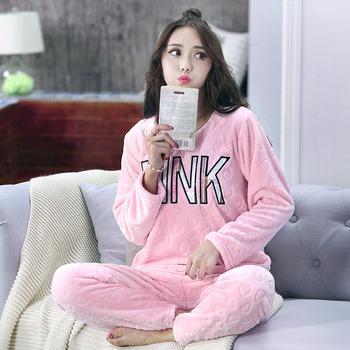 f782f564e47d Winter Pajama Women Flannel PINK Pajama Sets Female Sleepwear Coral Fleece