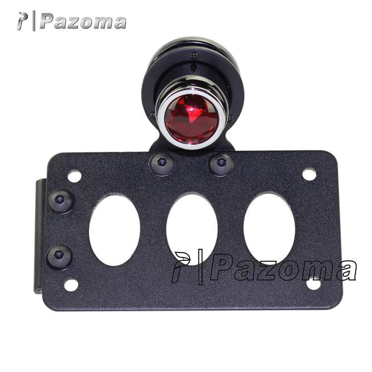 Pazoma Side Mount Motorcycle LED License Plate Taillight&Bracket