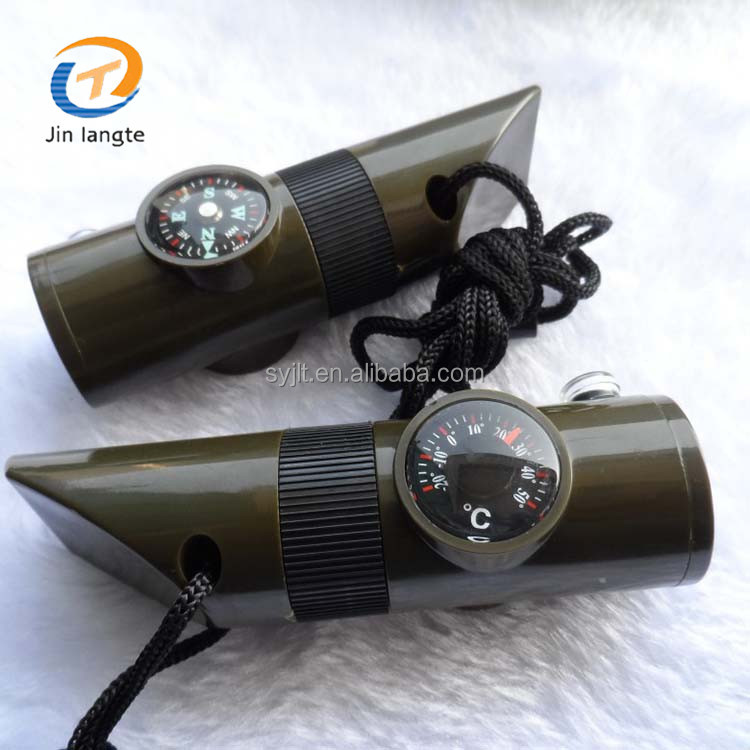 7 In 1 Army green survival plastic electric whistle with compass
