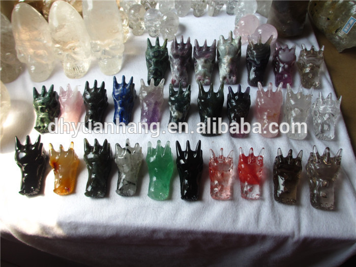High quality cheap nice natural gemstone rough rock crystal skulls dragon head skulls,quartz skull gemstone