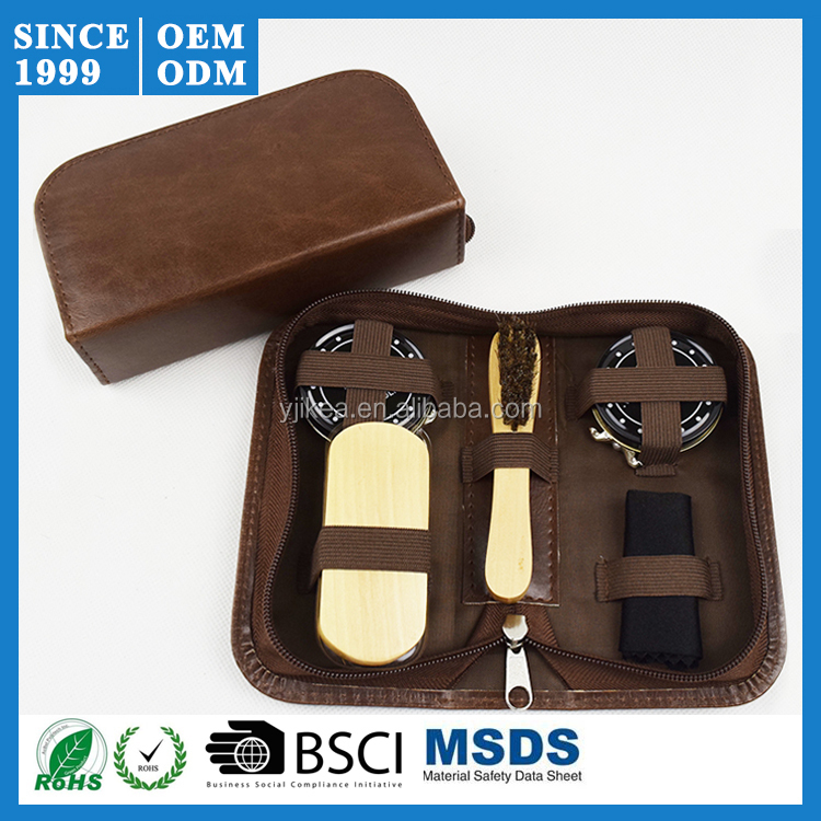 Travel Size Brown PU Leather Shoe Cleaning Kit With Shoe Shine Accessories