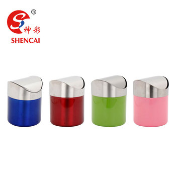 Stainless Steel Mini Desktop Trash Can/table Dustbin/ Waste Bin With Swing  Lid