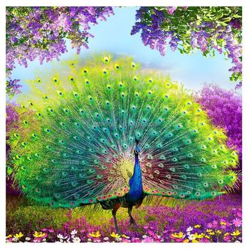 Lotus çiçeği Diy Elmas Boyama çapraz Dikiş Tavuskuşu Ev Dekorasyonu