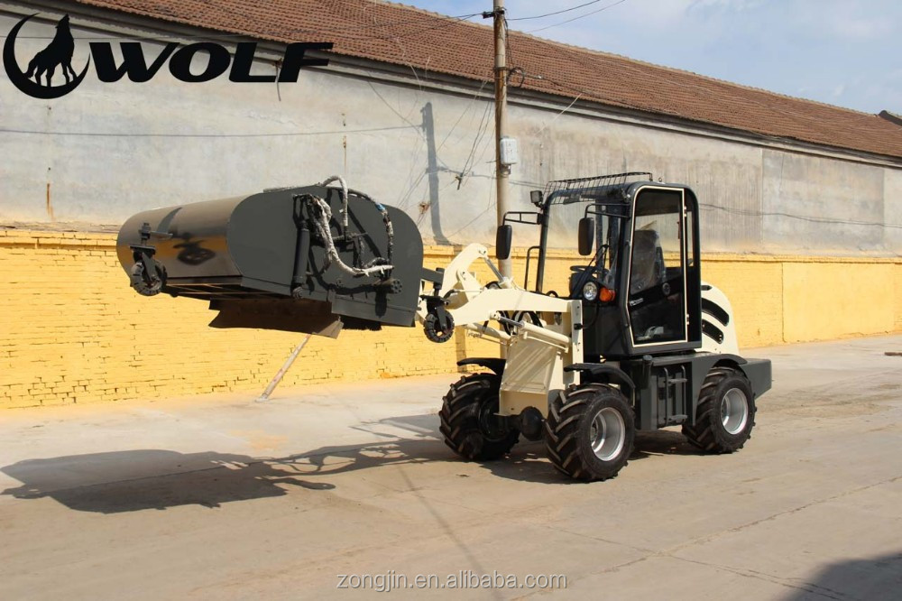 ZL08 working with closed road sweeper, China alibaba for sale, Bob Cat small loader 0.8ton