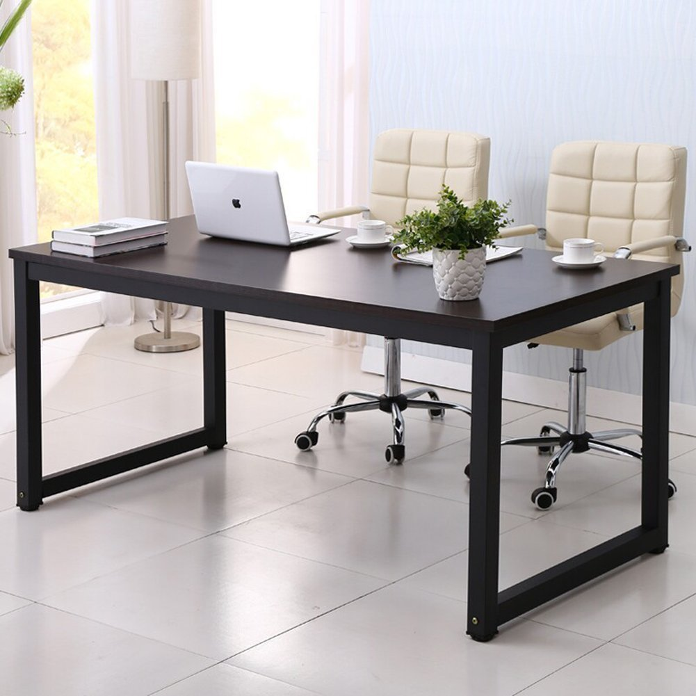 Home Office Desk, 63in Writing Desks Large Study Computer Table Workstation,Black Wooden Top+Black Metal Leg