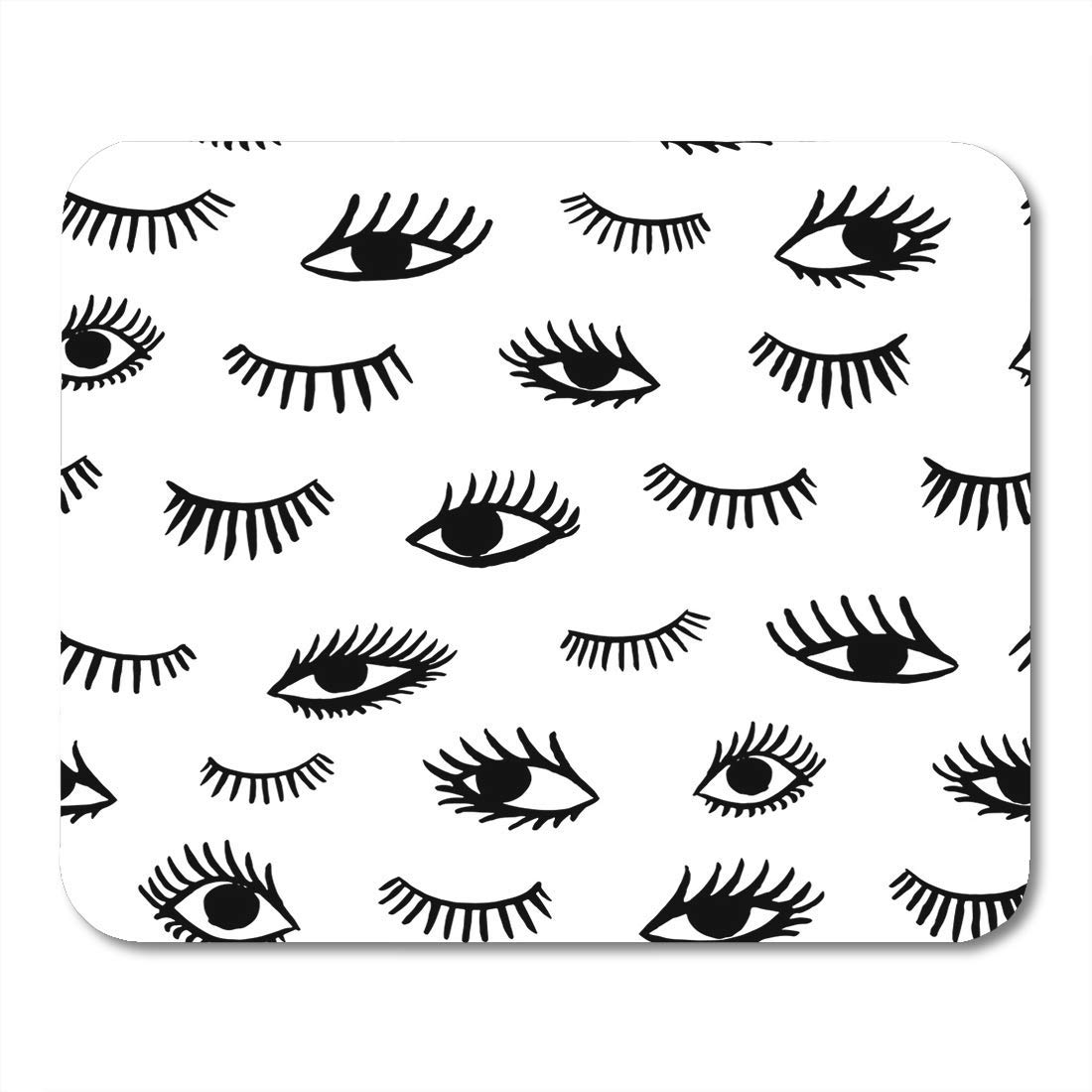 """Boszina Mouse Pads Abstract Black 80S Eye Doodles in Retro Style Beauty of Open and Close Eyes Textiles White 90S Bohemian Mouse Pad for notebooks,Desktop Computers mats 9.5"""" x 7.9"""" Office Supplies"""