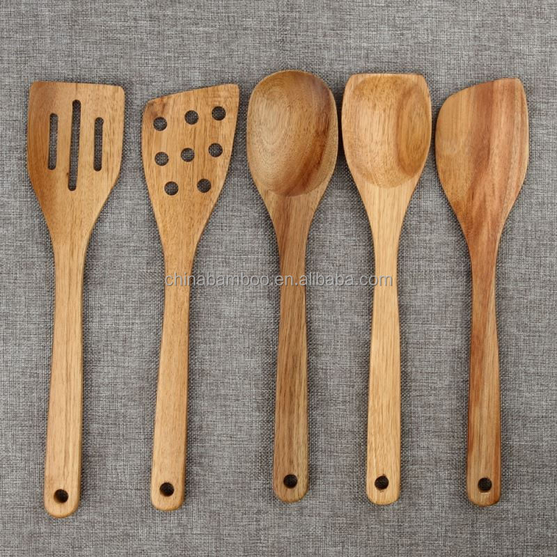 wooden kitchen cooking utensils, bamboo kitchen utensils set