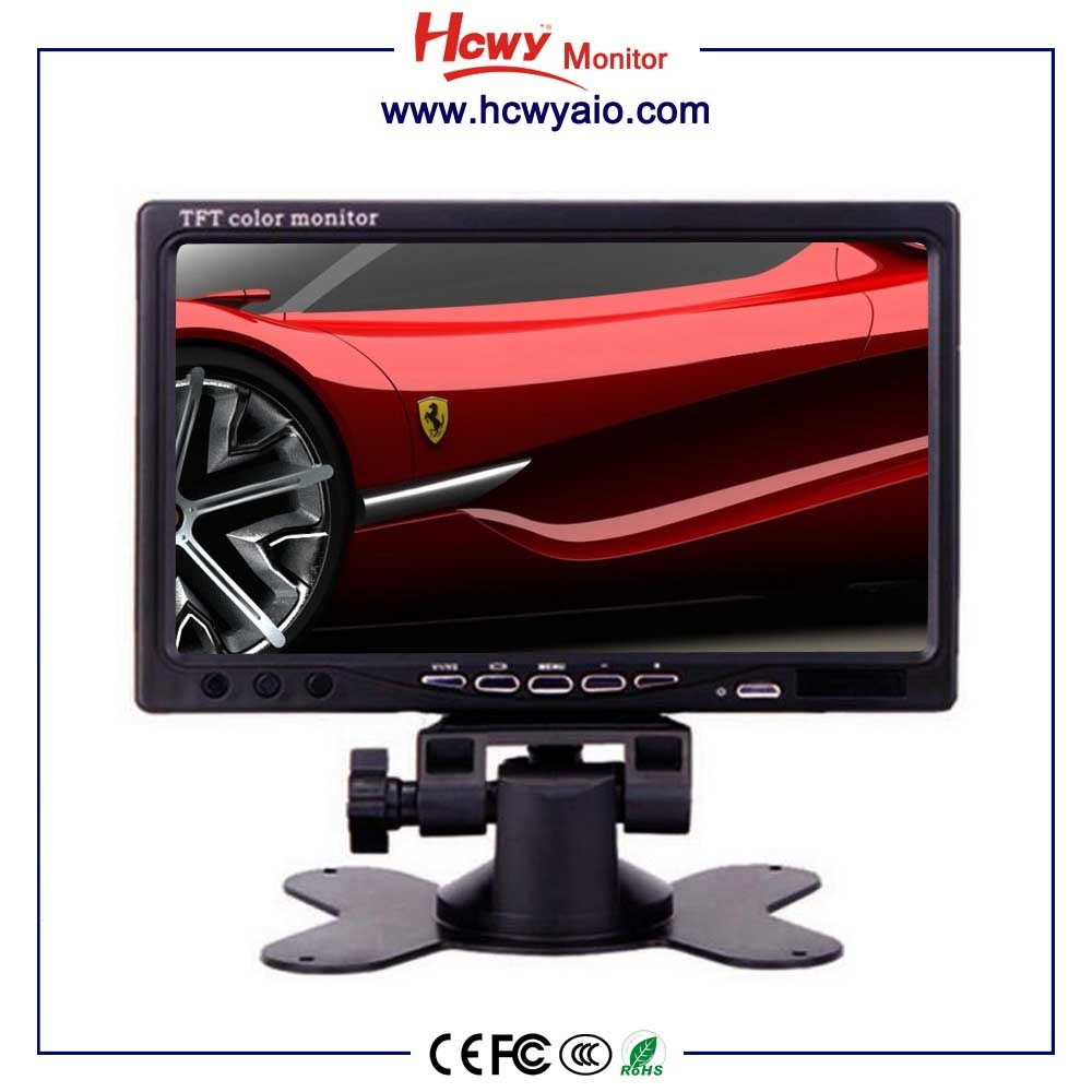 7inch dashboard stand alone car Monitor with 2 video input 7 inches tft lcd color monitor