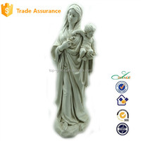 Antique white stone Virgin outdoor religious statue Mary with baby