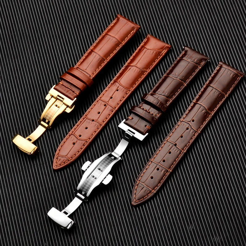 12-24mm butterfly buckle genuine calfskin italian leather watch strap band фото