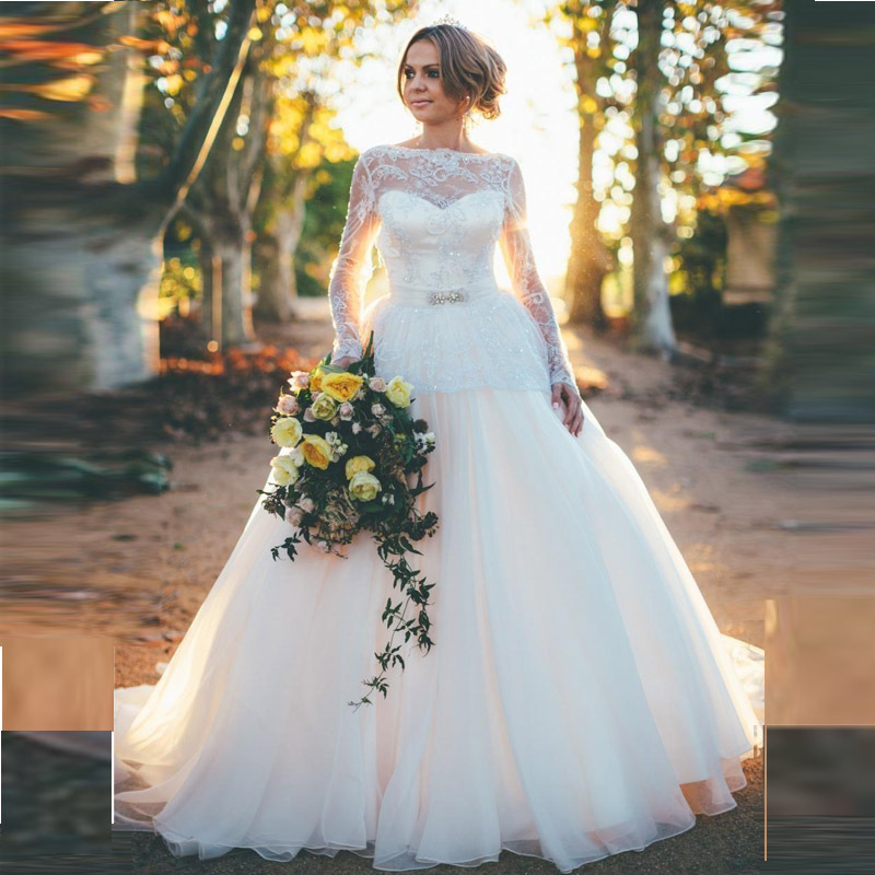 Princess Wedding Dresses: Back Open Sexy Princess Wedding Dresses With Long Sleeves