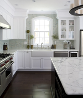l-shaped kitchen cabinet with stainless steel appliances/marble countertop